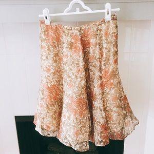 Dresses & Skirts - Floral A-Line Flounce Hem Midi Skirt, Rose & Tan